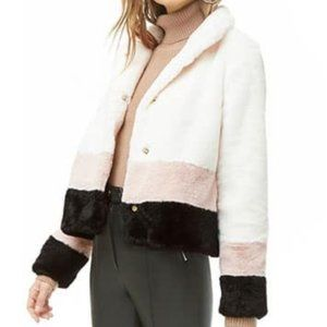NWT FOREVER 21 cropped faux fur coat jacket SZ S